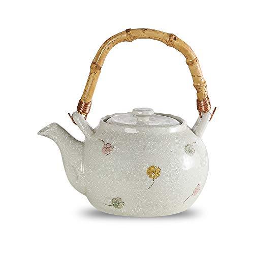 Teekanne Keramik Weiß, Teekanne teebereiter Handgefertigt,750 ml Asiatische Klein Teapot mit Modern Rattan Griff,Japanische Teekannen mit Edelstahl Siebeinsatz für Losen Tee,Tropffrei,Original