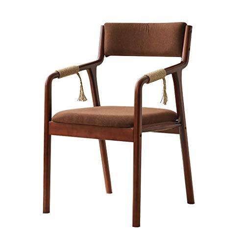 CSD Holz Dining Chair Sessel mit Hanfseil Armlehne und Rücken gepolstert Gepolsterte Sitz Tragbares for Kindererwachsene Küche Vintage Modern, 4 Farben, Farbe: Grau (Color : Brown)