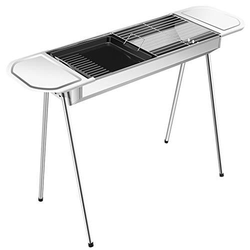 FEANG Tragbare Edelstahlgrill Outdoor-Haushalt Faltender BBQ-Grill-Kohle-Grill-Werkzeug-Kits zum Kochen von Campingwanderung Picknicks