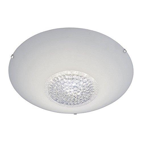 LED-Deckenleuchte aus satiniertem Glas Kristallglas-Einsatz, runde Glas-Deckenlampe dimmbar, Wohnzimmer Schlafzimmer 3 Stufen-Dimmer Ø 40 cm 760 Lumen 3000 Kelvin warmweiss 20W