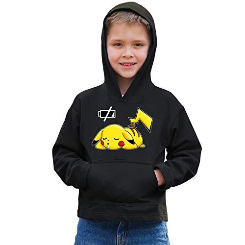 Okiwoki Sweat-Shirt à Capuche Enfant Noir Parodie Pokémon - Pikachu - Batterie complètement à Plat ! (Sweatshirt de qualité Premium de Taille 9-10 Ans - imprimé en France)