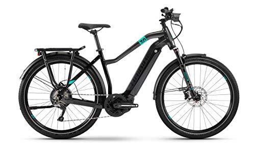 Haibike Sduro Trekking 7.0 Bosch 2020 - Bicicleta eléctrica, color Negro/turquesa/antracita (mujer)., tamaño 27.5' Damen Trapez L/52cm, tamaño de rueda 27.50
