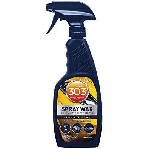 303 Products (30217) Automotive Spray Wax and Quick Detailer with UV Protectant - Car Cleaner with Carnauba Wax- Cleans Water Spots - Repels Dirt, Dust and Debris, 16 fl. oz.