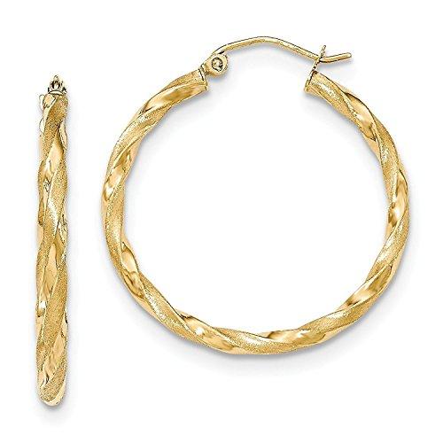 14 Karat 585 Gold Gedrehte Teilmattiert Creolen Ohrringe Gelbgold - PRI14M