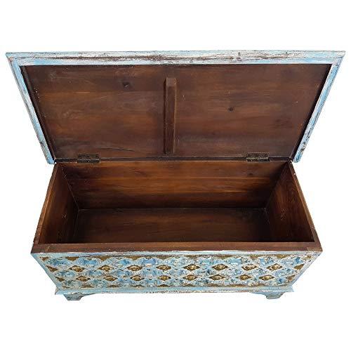 Indoortrend.com Truhe Kiste Holztruhe 90 Box Vintage Blau Shabby Chic aus Handarbeit Unikat - 3