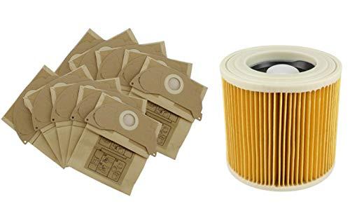 FIND A SPARE Cartridge Filter | Papier Stofzakken Voor Karcher WD2240 WD2200 Stofzuigers | 1 Filter + 10 Tassen