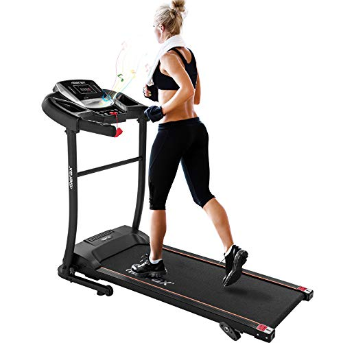 Merax Electric Folding Treadmill – Easy Assembly Fitness Motorized Running Jogging Machine with Speakers for Home Use, 12 Preset Programs (Black) by Merax