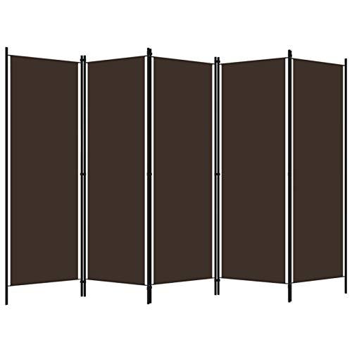 Tidyard Biombo Divisor de 5 Paneles Biombo Separador Plegable para Habitación Dormitorio Marrón 250x180 cm