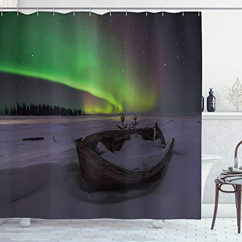 ABAKUHAUS Nordlicht Duschvorhang, Boot & Galaxy, Waserdichter Stoff mit 12 Haken Set Dekorativer Farbfest Bakterie Resistet, 175 x 180 cm, Multicolor