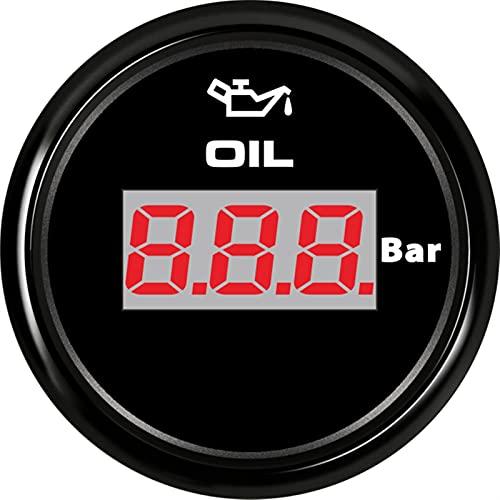 방수 오일 압력 게이지 오일 압력 게이지 52MM 자동 보트 요트 오일 압력 측정기 7 색 백라이트가있는 디지털 압력 게이지 더 긴 전력 소비가 적은 수명 (색상 : BB)