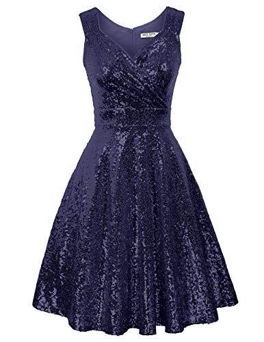 Retro Kleid a Linie v Ausschnitt Kleid Damen 50s Kleid a Linie trägerkleider Fashion Kleid CL1061-4 S
