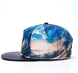 Men Women Outdoor Baseball Hat Wave Pattern Print Flat-brimmed Hat Adjustable Snapback Hip-Hop Cap