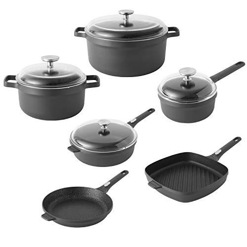 BergHOFF- Gem Collection- 10 Piece Aluminum Non-Stick Cookware Set In Black