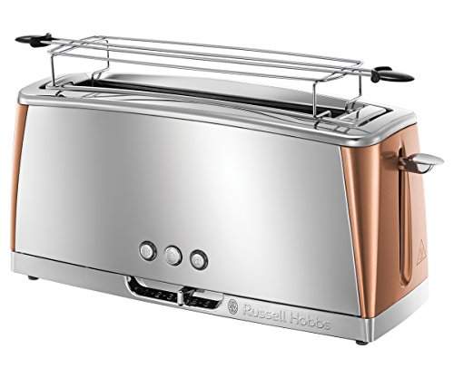 Russell Hobbs Toaster Langschlitz Luna Kupfer, extra breite 1 Langschlitzkammer, Brötchenaufsatz, 6 einstellbare Bräunungsstufen + Auftau-&Aufwärmfunktion, Schnell-Toast-Technologie, 1420W, 24310-56