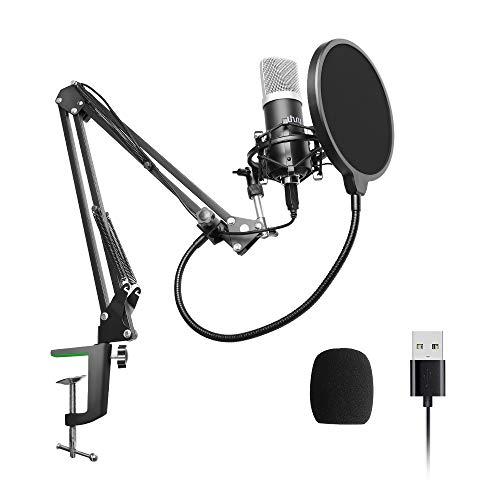 USB Mikrofon,uhuru UM900 PC Podcast Mikrofon 192Khz/24Bit Professionelles Kondensatormikrofon-Set mit Mikrofonständer, Halter, Pod-Filter für Live-Streaming, Spiele, Youtube, Skype