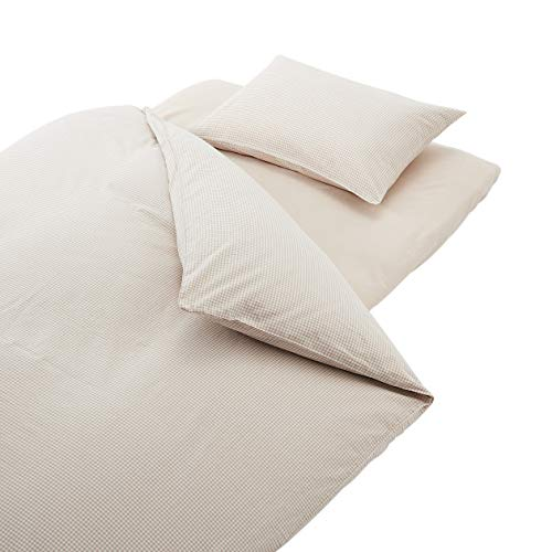 無印良品綿洗いざらしふとんカバーセット/ベージュ/チェック敷ふとん用シングルサイズセット82591682