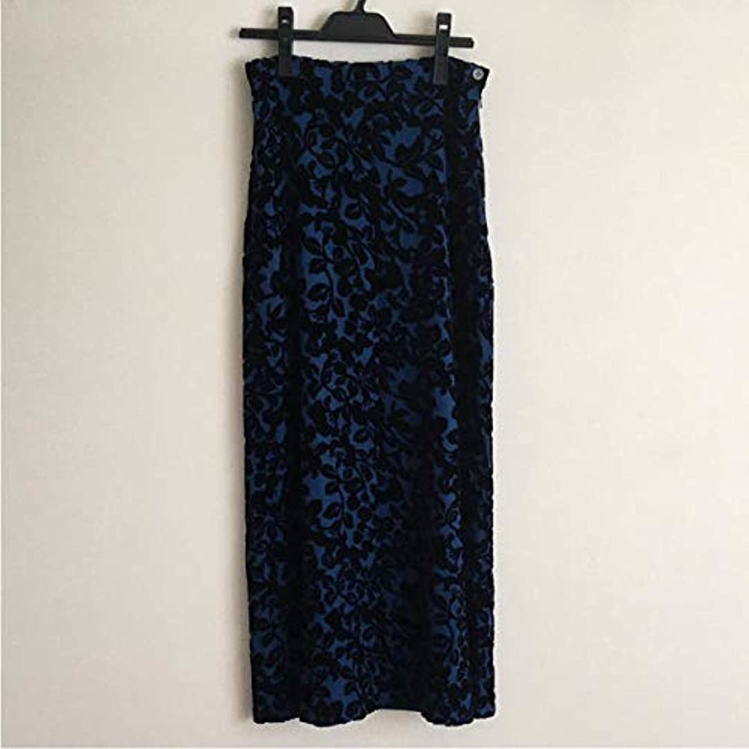 切断するアメリカスタジオローラアシュレイ レース×ベロア素材 ロングスカート ブルー M