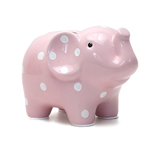 Child to Cherish Polka Dot Elephant Toy Bank, Pink