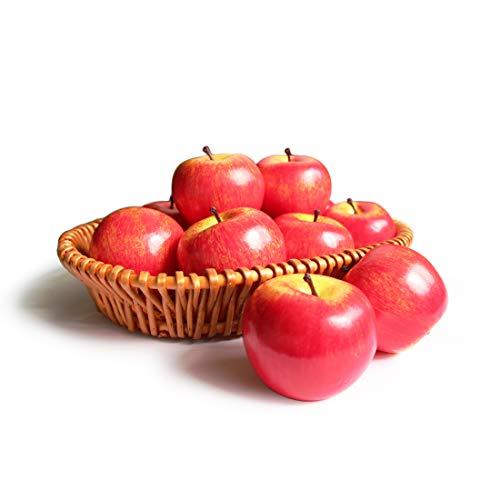 Frutas Manzanas Artificiales Falsas para la decoración del hogar Manzanas realistas de tamaño Real Manzanas Falsas para la decoración de la Fiesta de Navidad de la Cocina (6 Piezas de Manzana roja)
