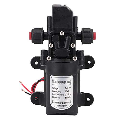 12V Wasserpumpe, 60W Hochdruck Membran Wasserpumpe Druckpumpe selbstansaugende Druckwasserpumpe für Gartensprenger Duschen Wasserhähne im Boot Caravan oder Reisemobil