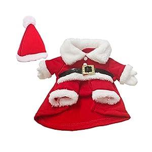 Toyvian Déguisement Noël Chien Costume Père Noël Vêtements Manteau Chaud Hiver Chien Petit Chiot Chat avec Chapeau Noel Rouge Blanc Taille