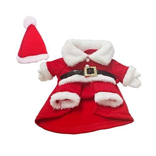 Toyvian Weihnachtskostüm mit Weihnachtsmütze Hunde Katzen Wintermantel Weihnachtsmann Hund Kostüm (Rot und Weiß)