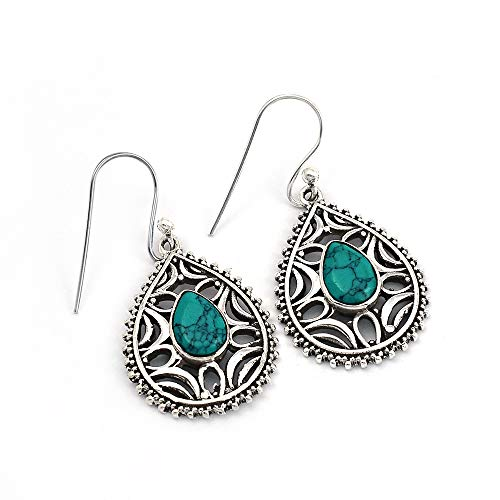 Pendientes colgantes de plata de ley 925 con piedra turquesa natural, hechos a mano, joyería de plata oxidada para mujer