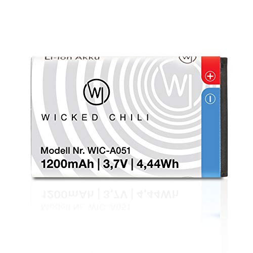Wicked Chili Akku kompatibel mit AMV Fritz!Fon C6-1200mAh bis 19 St&en Gesprächsdauer, Ersatzakku C6 ohne Kapazitätsverlust - Ersetzt Fritzfon IP Handy original Akku A051 (Li-Ion 4,4Wh 3,7V)
