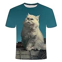 CKKHYCD 3D 半袖 空を見上げる 子猫プリント Tシャツ メンズ 丸ネック スポーツ 速乾性 トップス 夏