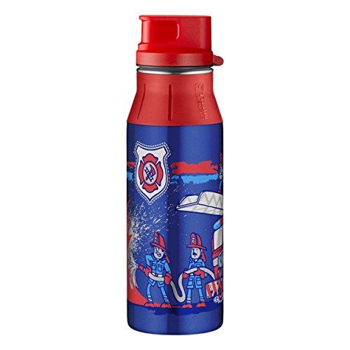 alfi 5377.169.060 Trinkflasche elementBottle II, Edelstahl Feuerwehr Blau 0,6 l, Spülmaschinenfest, BPA-Free