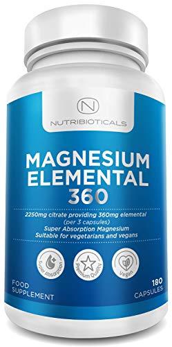 2250mg Pure Magnesium Citrate Providing Max 360mg Elemental - 180 Vegan Capsules (1-3 caps per Serving 2-6 Months Supply)