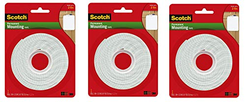 Scotch Brand 112L Permanent Mounting Tape, 1 Inch x 125 Inches, White, 3 Rolls
