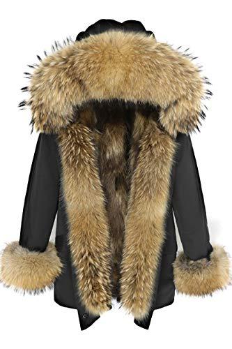 Lea Marie Damen Luxury Premium Parka XXL Kragen aus 100% ECHTPELZ ECHTFELL Jacke Mantel Fuchspelz Innenfutter (Schwarz, S)