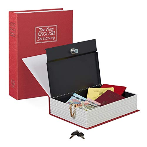 Relaxdays 10020800_47 Libro Cassaforte con Serratura, Cassetta di Sicure, Rosso, Hxlxp: 27 x 2 x 6.5 cm