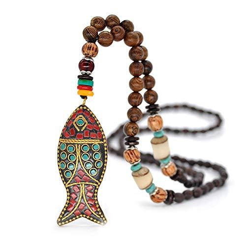 EXINOX Collar Budista Largo con Cuentas de Madera | Etnico Buda | Mujer | (Pez)