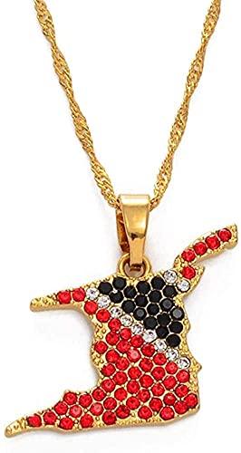 YOUZYHG co.,ltd Collar Trinidad y Tobago Mapa Collar con Colgante de Diamantes de imitación Color Dorado Joyería de Trinidad Tobago Regalos étnicos Collar de 60Cm