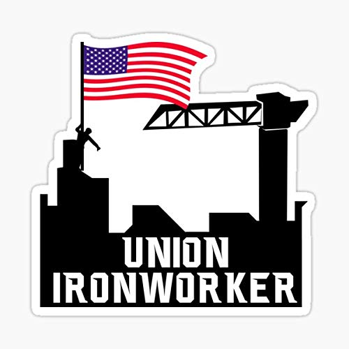 Union Ironworker Proud American Flag Sticker - Sticker Graphic - Auto, Wall, Laptop, Cell, Truck Sticker for Windows, Cars, Trucks
