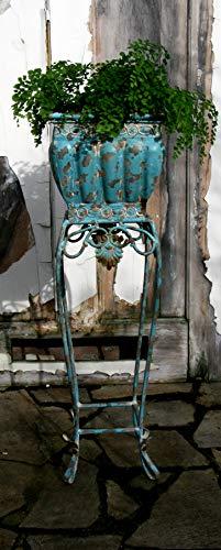 van Deurs Danmark türkiser Blumenkasten auf Fuß mit tollem Antik-Finish aus dem Hause Shabby Vintage Landhaus Übertopf