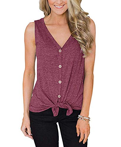 Women's V-Neck Sleeveless T-Shirt Tops Loose Fitting Plain Shirts Basic Tee (M, Red Wine)
