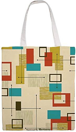 MODORSAN Bolso de hombro moderno de mediados de siglo, bolso de mano de lona, bolsos de tela reutilizables para compras de comestibles, bolsos de mano con impresión de doble cara