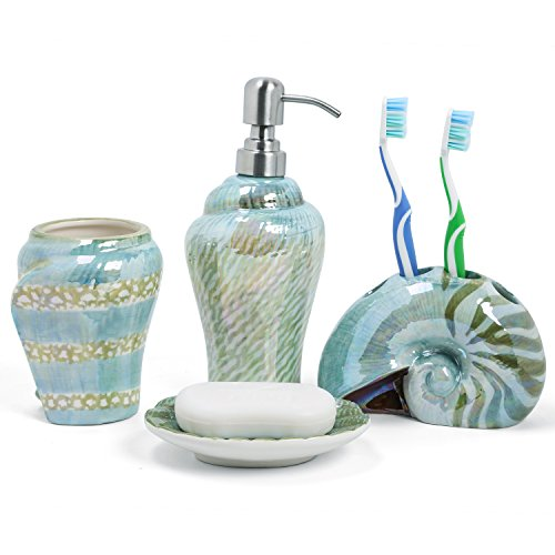 FORLONG Conch Sea Shell Ceramic Bathroom Accessories Set of 4,1 Gargle Cups 1 Toothbrush Holders 1 Soap Dishes 1 Soap Dispenser Green
