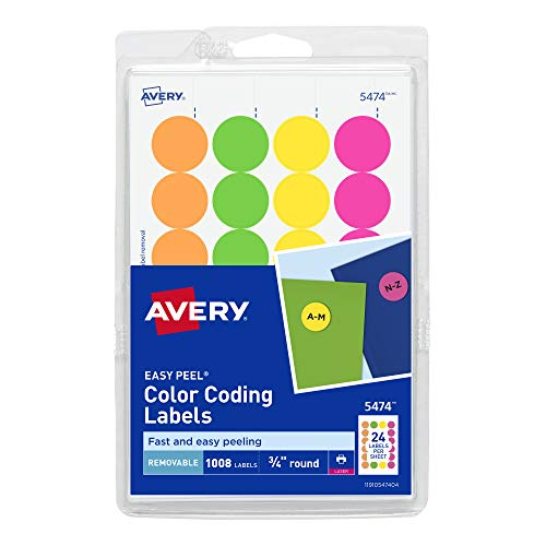AVERY Removable Print or Write Dot Stickers 3/4 Inch, Assorted Colors, Pack of 1008 Round Stickers (5474), White