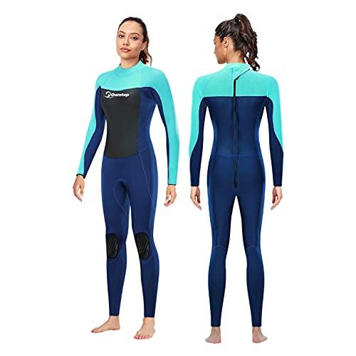 Traje de Neopreno para Mujer 3mm Neopreno Mantener Caliente Trajes de Surf Manga Larga con Cremallera Frontal Traje de Baño para esnórquel, Buceo, natación, Surf