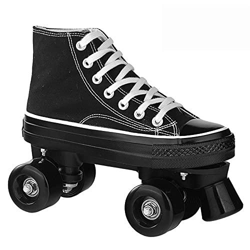 JHGFRT Roller Skates for Women,Quad Roller Skates for Children Sport Outdoorschuhe Skateboardschuhe Adults Rollschuhe LED Double Row Canvas Roller Skates,Schwarzes-EU40