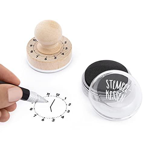 Trendhaus Aprendizaje con Sello de Madera, Incluye tampón, para Aprender a Leer el Reloj, a Partir de 5 años (952349)