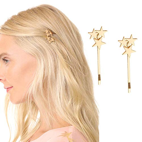 Yalice Star Hair Barrette Simple Bobby Pins Hair Clips Metal Hair Accessories for Women and Girls 2Pcs (Gold)