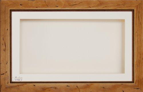 Anika-Baby écran 17,8 x 33 cm/33 x 17,8 cm Boîte en bois Cadre en bois rustique avec carte Passe-partout crème et carte de dos, façade en verre 36,8 x 21,6 cm
