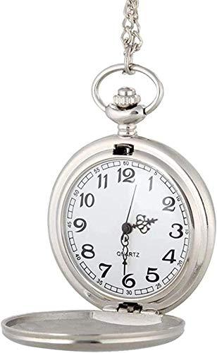 YOUZYHG co.,ltd Reloj de Bolsillo de Plata polaca Reloj de Bolsillo de Cuarzo Fob Cadena Colgante Collar Relojes Regalos para Hombres Mujeres