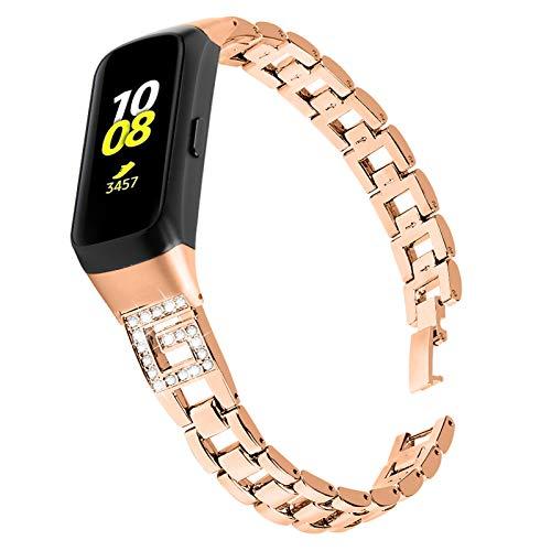 RuiRdot Galaxy Fit Band, Correa de Reloj de Repuesto para Mujer Accesorio de Reloj Correa de Acero Inoxidable con Diamantes de Imitación Compatible con Samsung Galaxy Fit SM-R370 (Oro Oscuro)