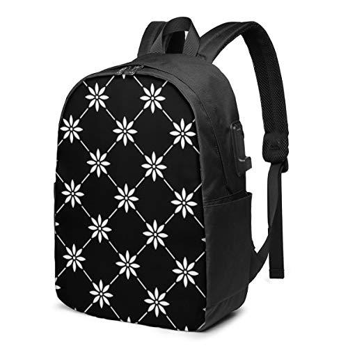 Geometric Flowers School Backpack Teen Girls and Boys Bookbag School Bag College Laptop Backpack with USB Charging Port Travel Rucksack